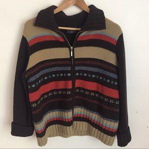 Vintage Southwestern Boho Wool Sweater Jacket